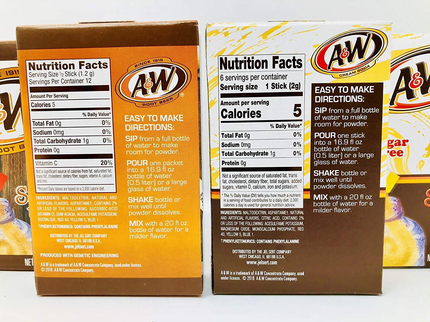 Amazon.com : A&W Root Beer + A&W Cream Soda Drink Mix Singles to Go! Variety Pack Bundle - 3 Boxes w/6 pouches each of Each Flavor! : Grocery & Gourmet Food