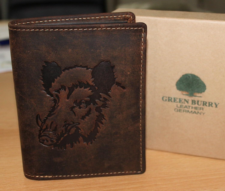 Greenburry/lefox G701 Wildboar - Cartera marrón con jabalí, para amantes de la caza, piel: Amazon.es: Deportes y aire libre