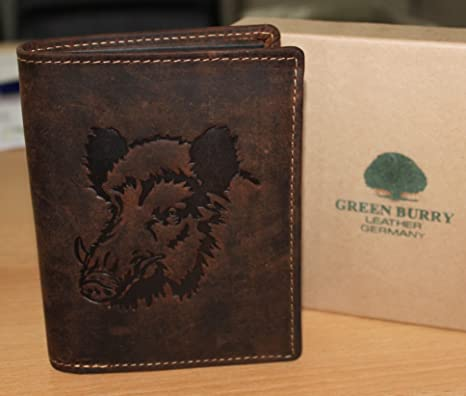 Greenburry/lefox G701 Wildboar - Cartera marrón con jabalí, para amantes