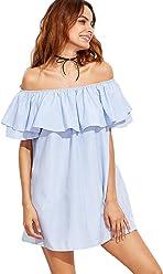 65d8d748e162 SheIn Women s Casual Off Shoulder Striped Ruffles Mini Dress