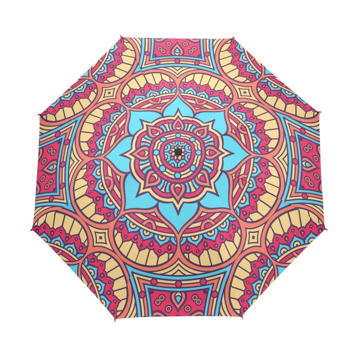 baihuishop防風ゴルフ傘、コンパクトで旅行for Easy Carryingスポーツ雨傘 – 強力なフレームUnbreakable曼荼羅花パターン   B01M152ILQ