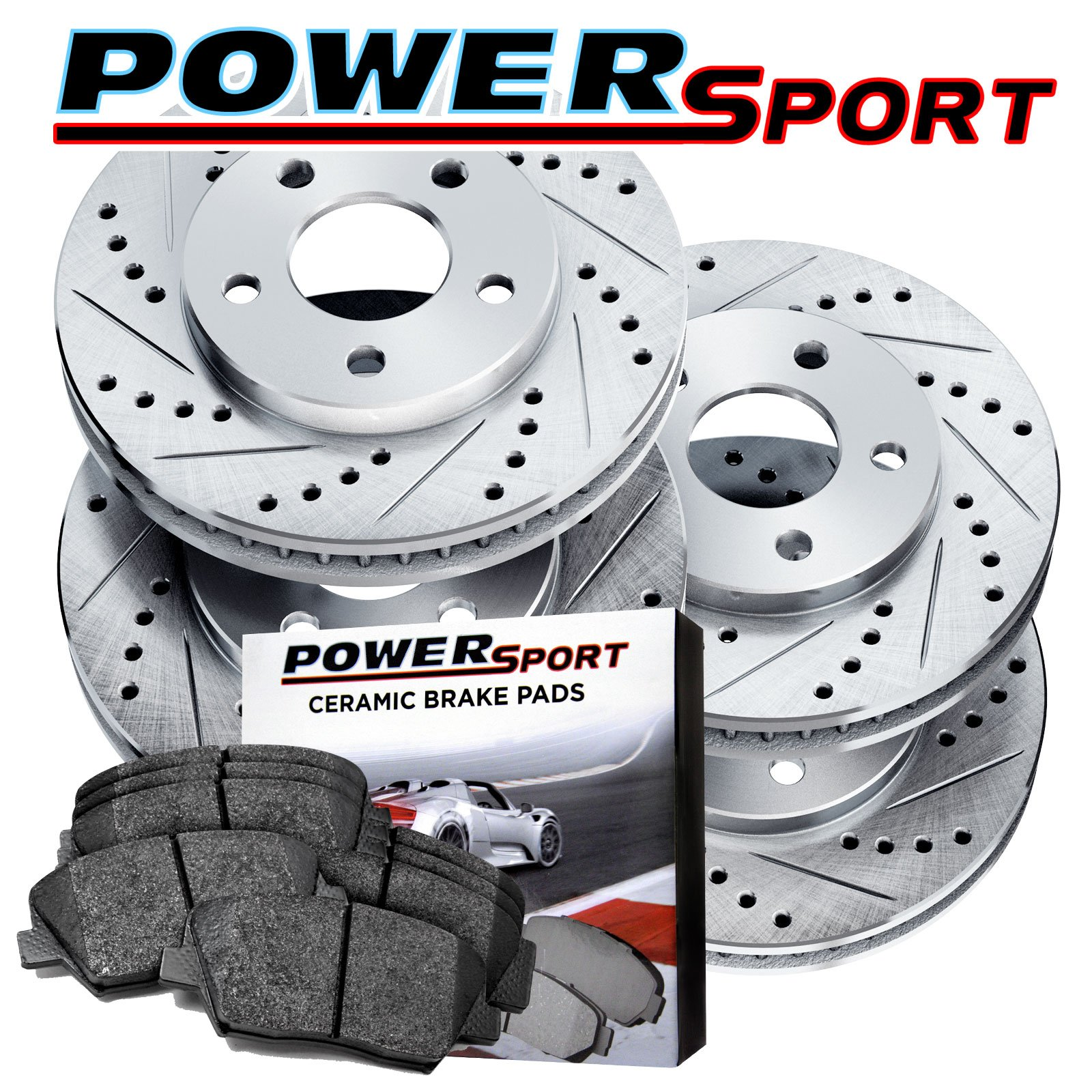 Full Kit Cross-Drilled Slotted Brake Rotors Disc and Ceramic Pad Equinox,Terrain by Power Sport