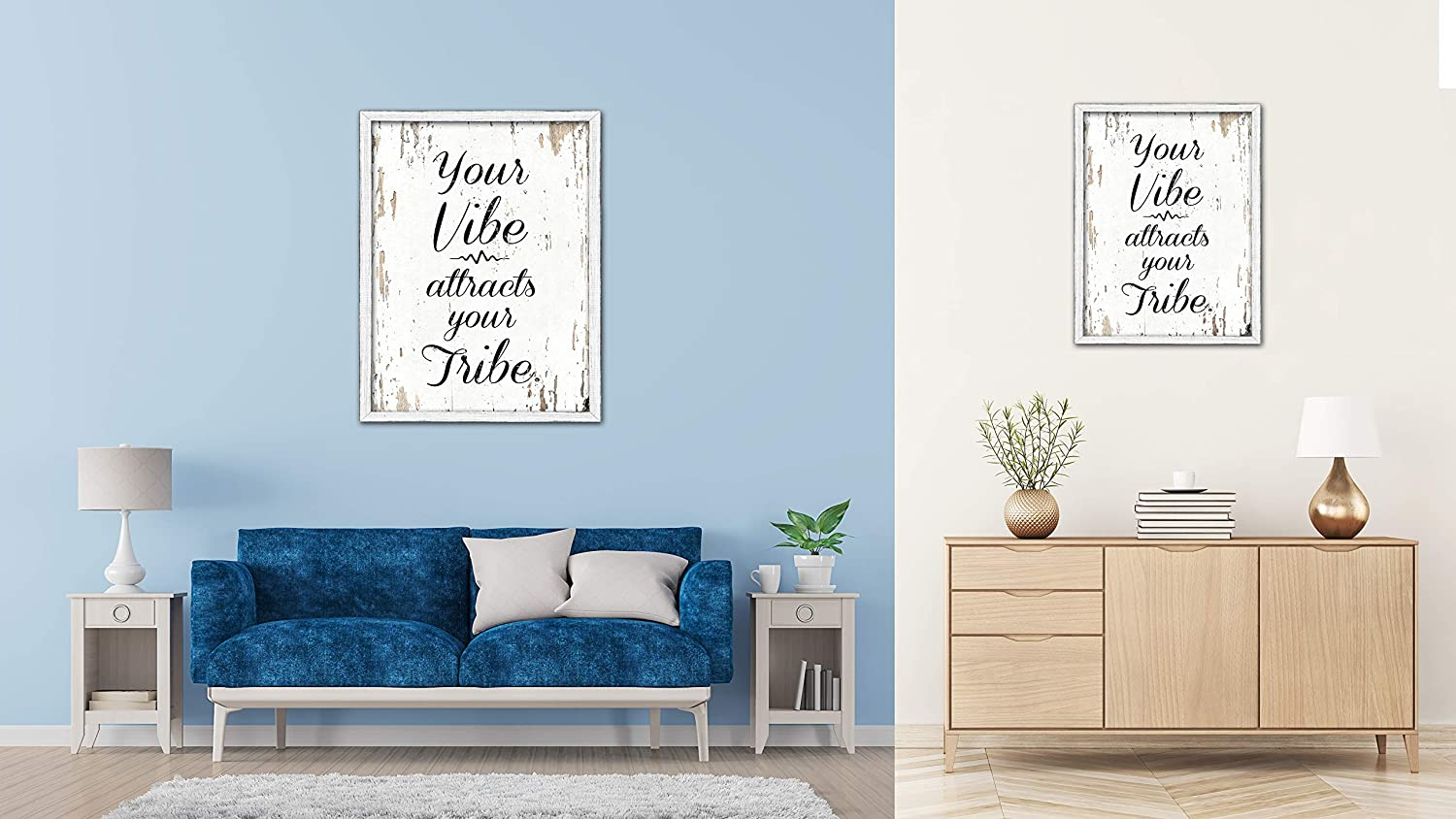 SpotColorArt Your Vibe Attracts Your Tribe Framed Canvas Art 22 x 29 White