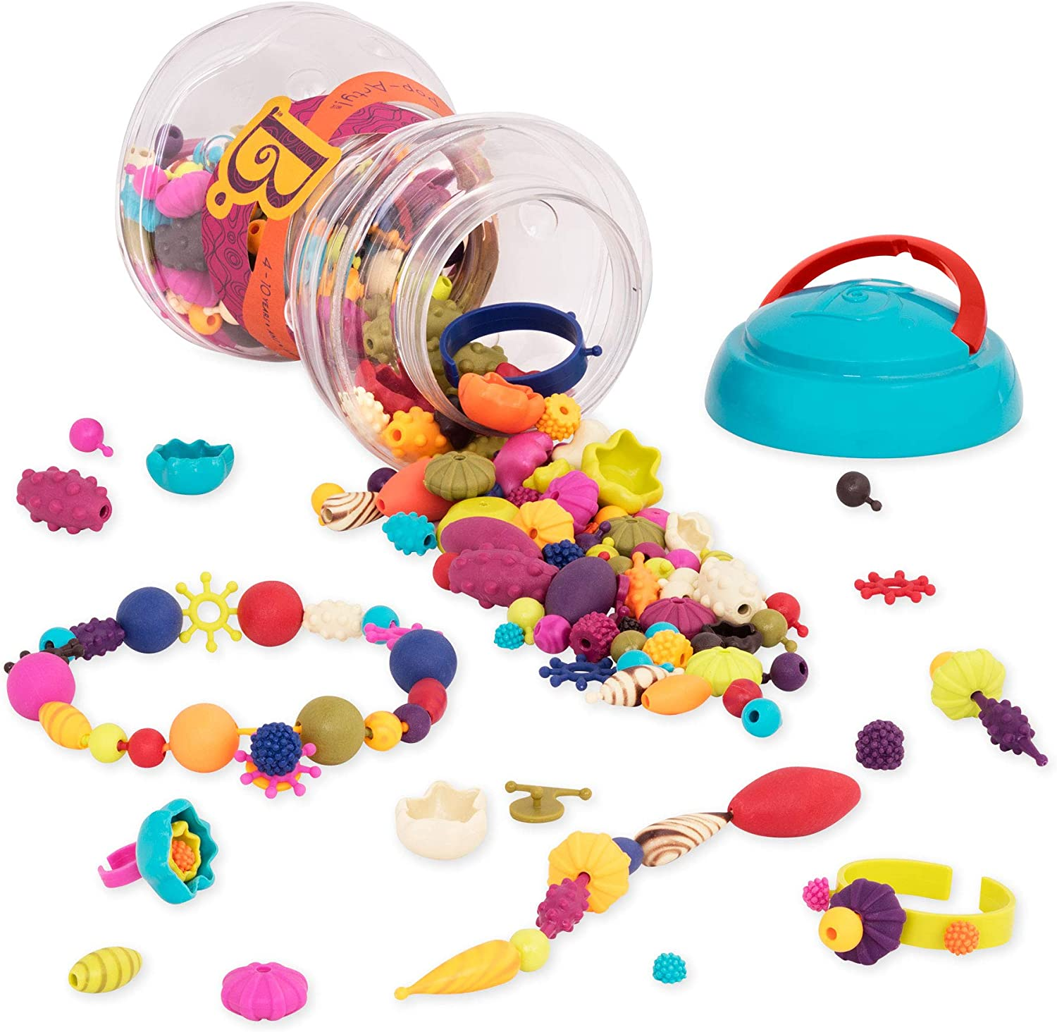 B. Toys – 300 Pcs – Pop Snap Bead Jewelry Set for Kids – Pop Arty! – DIY Craft Jewelry Making Kit – Creative Necklaces, Rings, Bracelets – 4 Years +