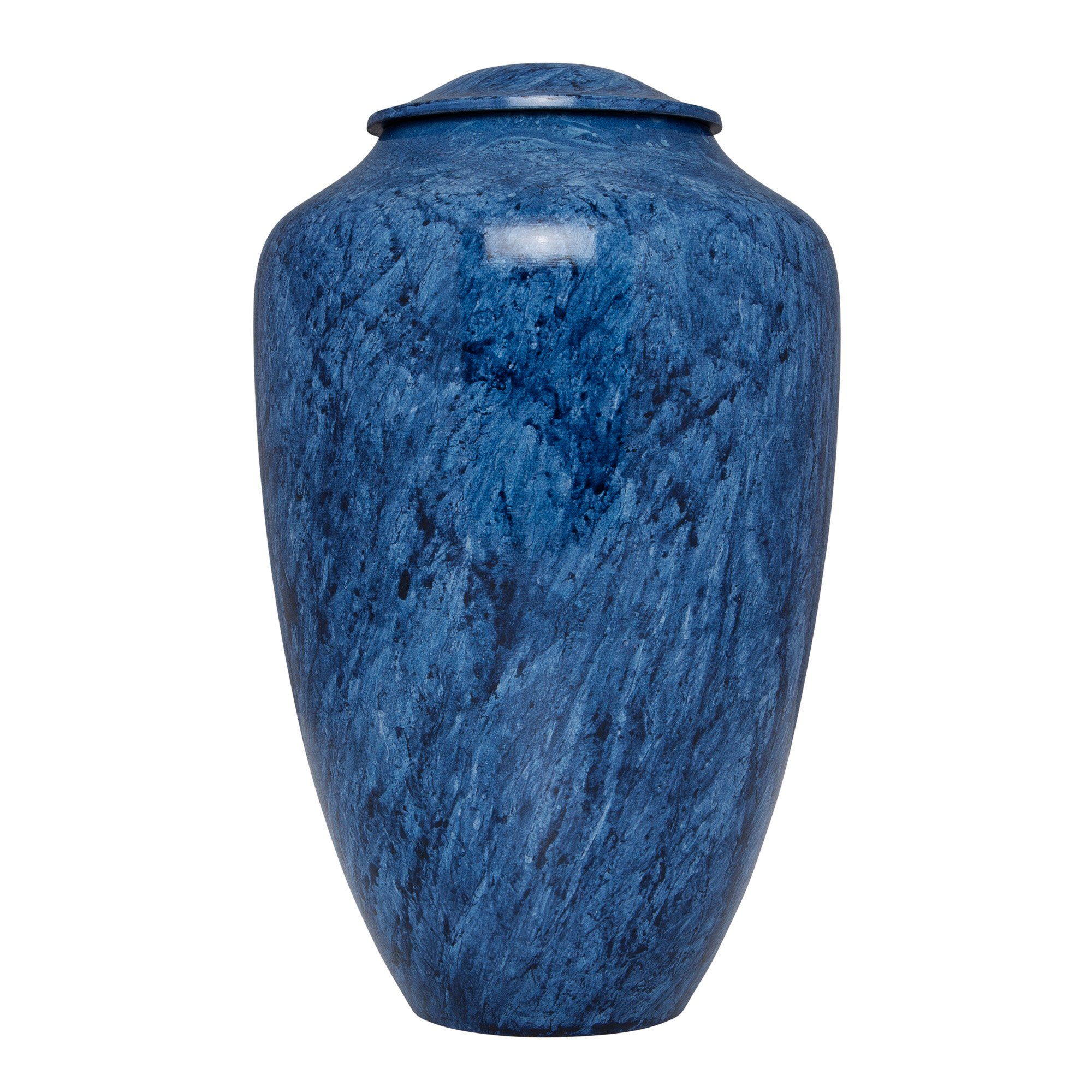Blue Funeral Urn by Liliane Memorials - Cremation Urn for Human Ashes - Hand Made in Brass - Suitable for Cemetery Burial or Niche - Large Size fits remains of Adults up to 200 lbs - Ambleu Model