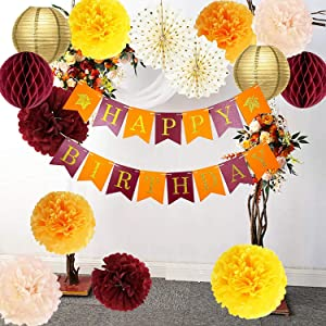 Fall Birthday Party Decorations/Burgundy Orange Birthday Party Decorations/Thanksgiving Table Decor Maroon Burgundy Yellow Women 30th/40th/50th/60th/70th Burgundy Orange Birthday Party Decorations