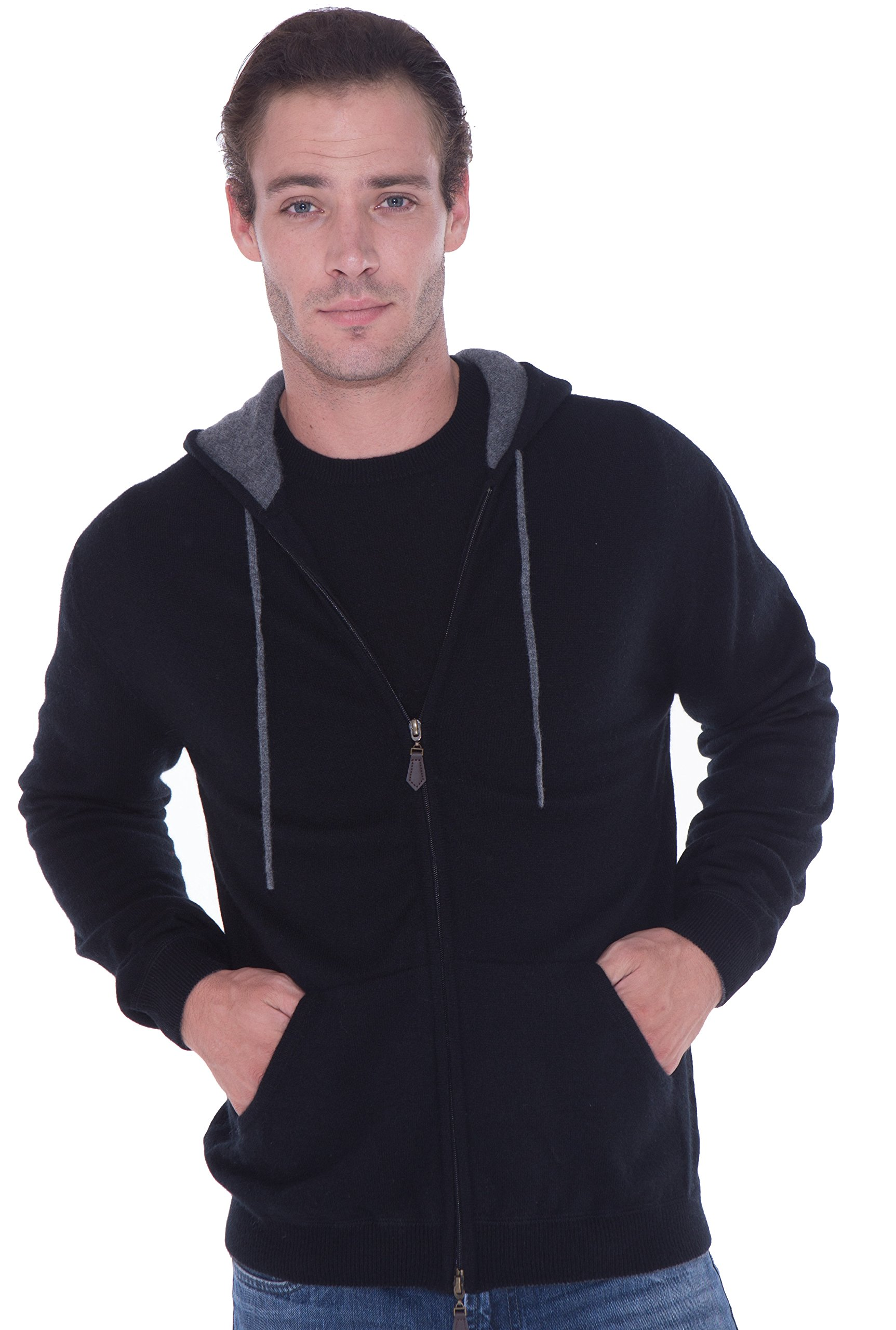 LEBAC 100% Cashmere Sweater Zip Up Hoodie With Double Layer Hood For Men by