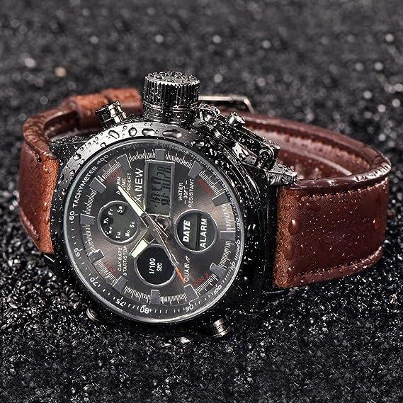 ashop Reloj de pared reloj Sport reloj hombre reloj del ejército militar de Sport del cuarzo de los hombres ha conductos los relojes analógicos de reloj de ...