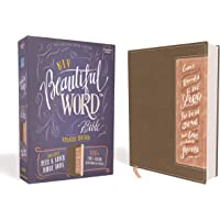 Niv, Beautiful Word Bible, Updated Edition, Peel/Stick Bible Tabs, Leathersoft, Brown/Pink, Red Letter, Comfort Print…
