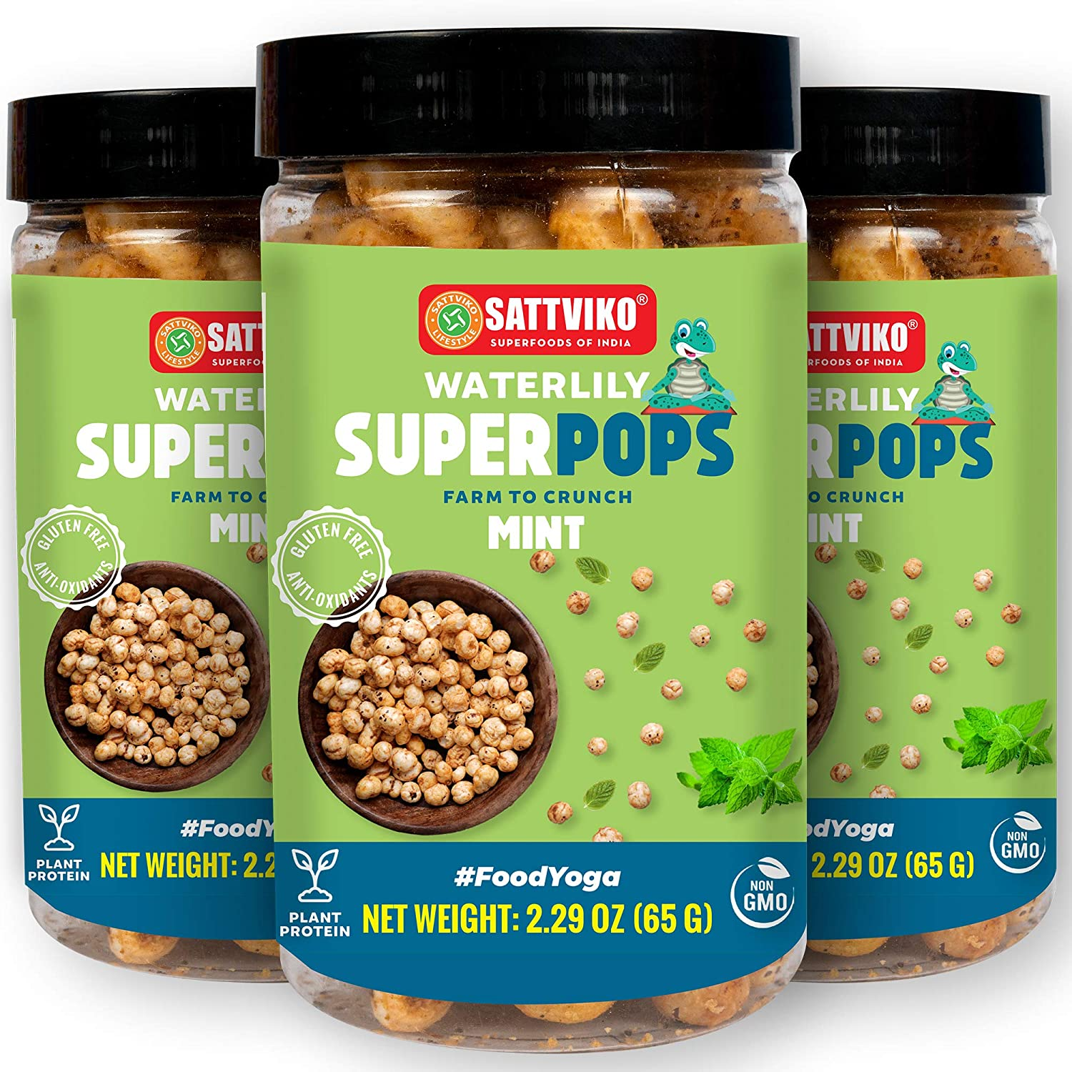 Sattviko - Mint Water Lily Pops | Vegan Snacks for Adults | Low calorie snack | Puffed Snacks | Gluten free | Plant based Snack | Low fat snacks | Pudina Makhana - 3 Jars of 2.29 Oz each, 6.87 Oz