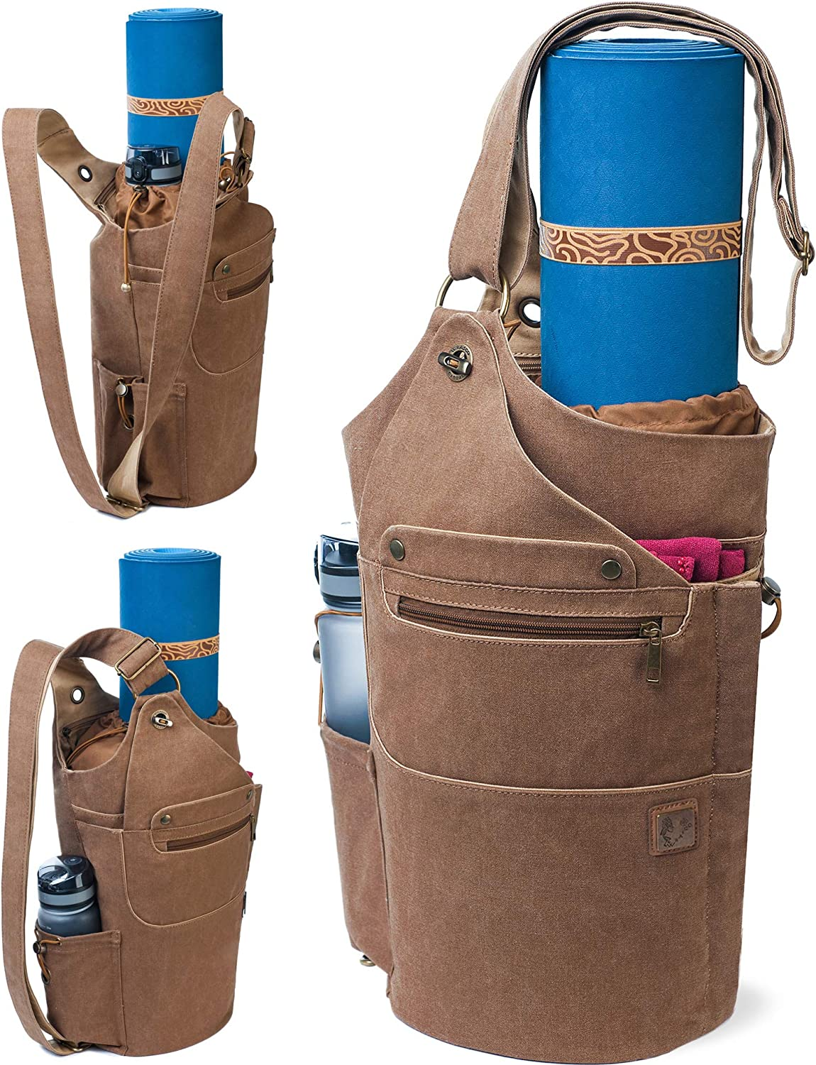 WRASCO Yoga Mat Bag Canvas Casual Yoga Backpack Convertible Yoga Mat Tote Sling Carrier - Fits Most Mat Sizes - Yoga Bags and Carriers for Women & Men ...