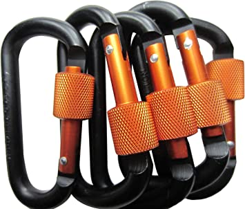 5Pcs Climbing Carabiner Hooks Small Key Chain Buckle D Shap Screw Lock Bag Hook