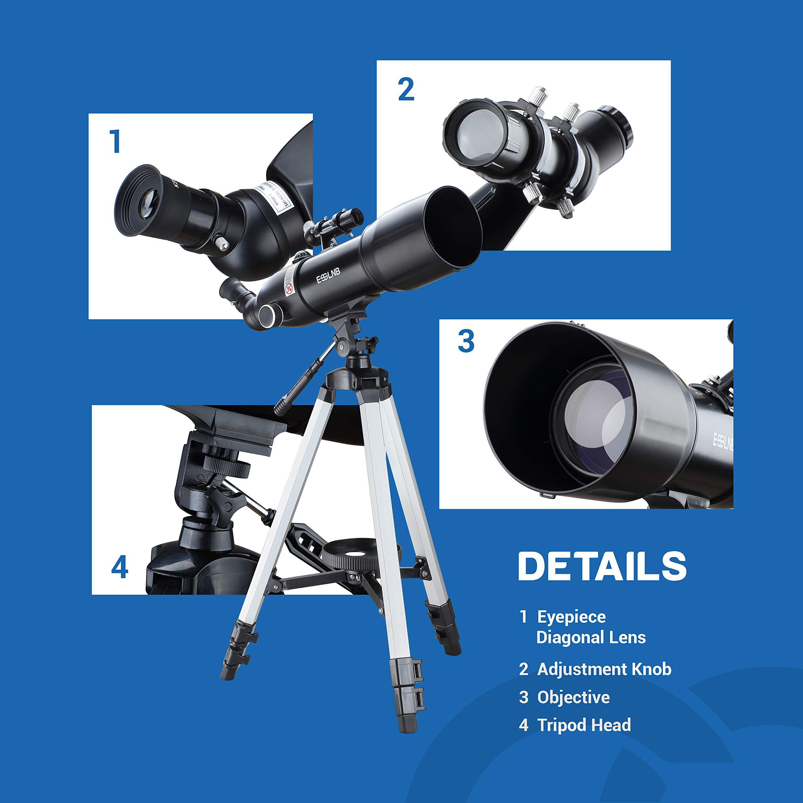 ESSLNB Telescopes for Adults Astronomy Beginners Kids 400X80mm with 10X Smartphone Adapter Adjustable Tripod Case and Moon Filter Erect-Image Diagonal Prism by ESSLNB (Image #8)