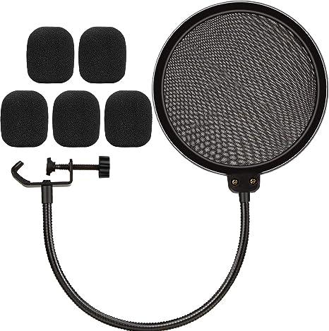 Micrófono Pop Filter, 6 pulgadas doble capa Pop Shield con 360 ...