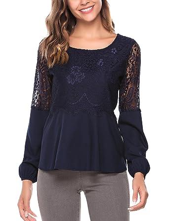 78d9408a5af456 Zeagoo Damen Langarmshirt Spitzenshirt Bluse Shirt mit Floral Spitze Tops  Oberteil: Amazon.de: Bekleidung