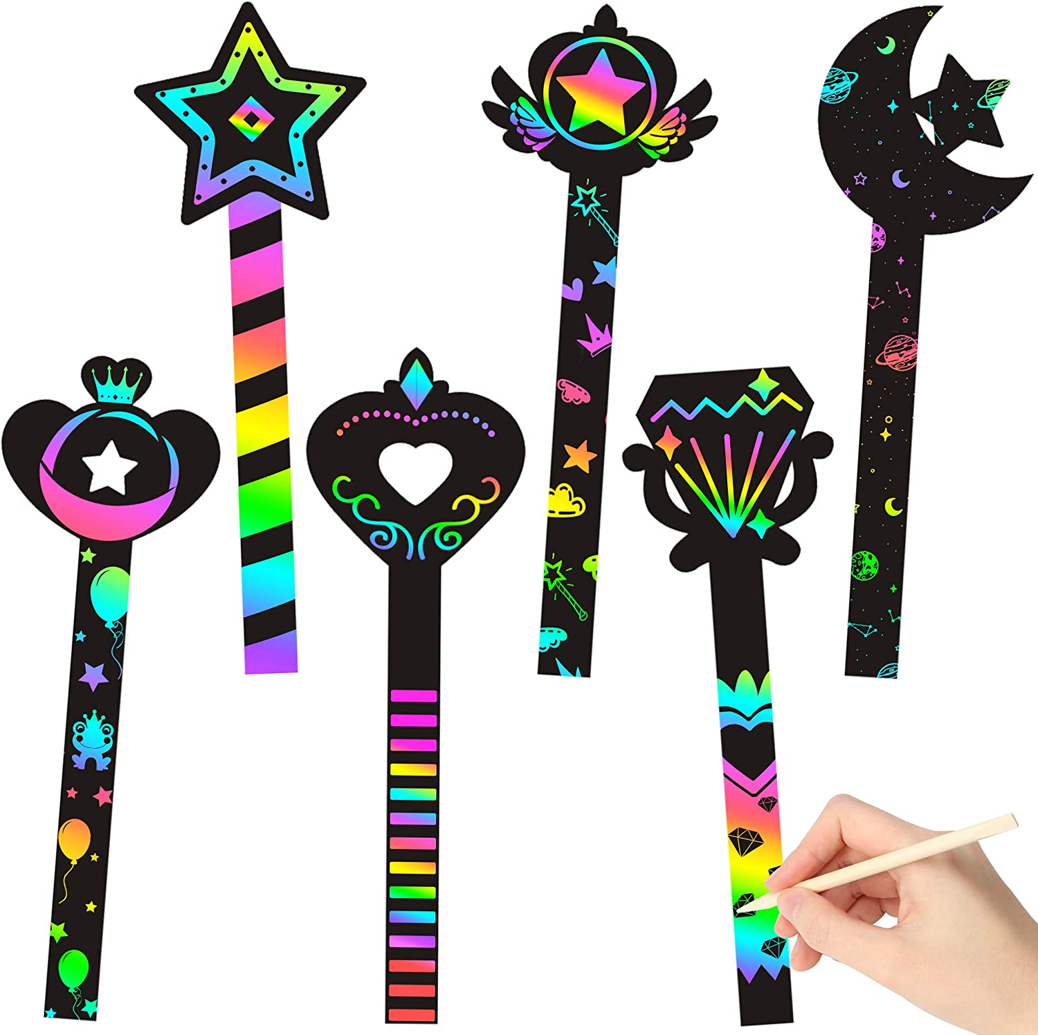 Fairy Wand Supplies Fun Home Activities Birthday Gifts for Kids WATINC 30Pcs Fairy Stick Scratch Paper Art Set for Girls Birthday Party Magic Rainbow Color DIY Craft Kit for Princess Party Favors
