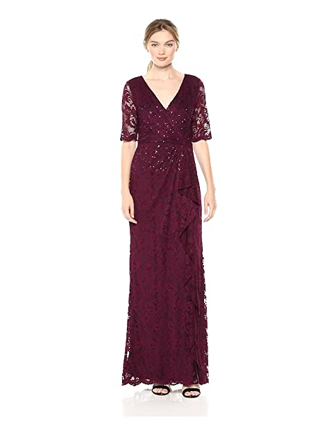 1940s Evening, Prom, Party, Formal, Ball Gowns Adrianna Papell Womens Paisley St. Lace Long Dress with Draped Skirt $229.00 AT vintagedancer.com
