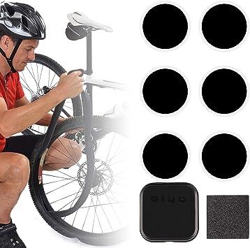 GIYO - Set de reparación de parches autoadhesivos para bicicleta (caja de metal, 4 x 4 cm), Sin desmontador de neumáticos.: Amazon.es: Deportes y aire libre