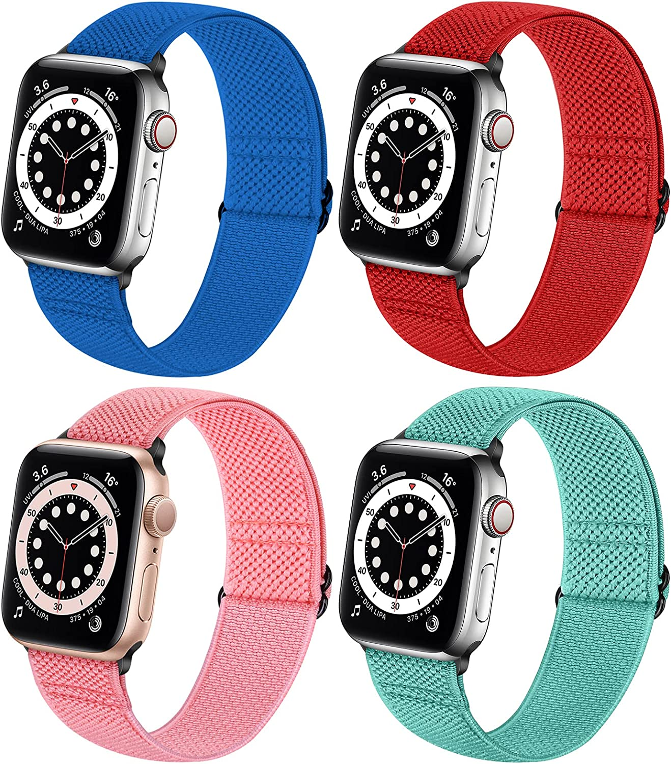 Neoxik Soft Nylon Braided Elastic Watch Bands Compatible with Apple Watch 38mm 40mm 42mm 44mm,Adjustable Sport Breathable Wrist Strap for iWatch Series 6 5 4 3 2 1 SE