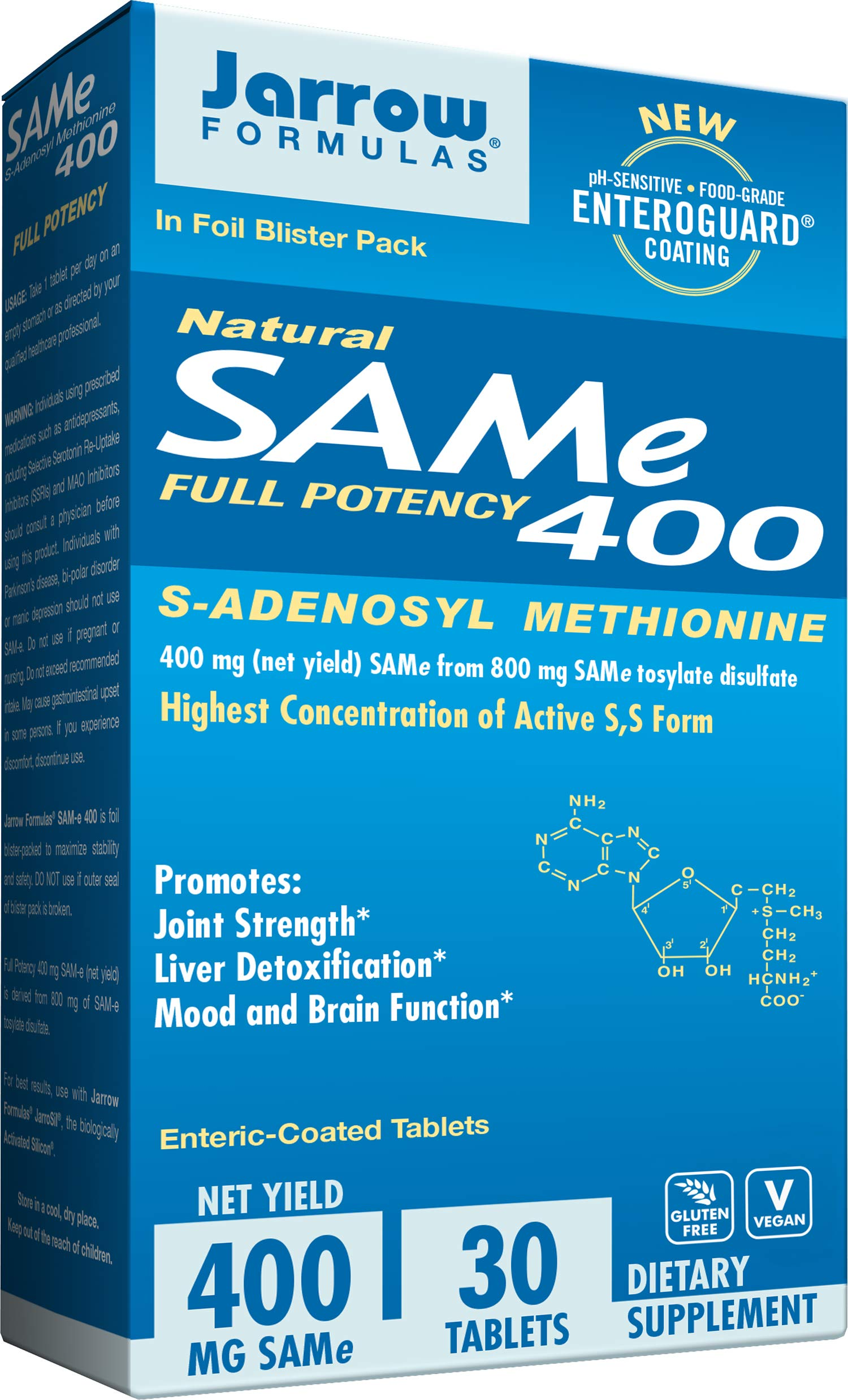 Jarrow Formulas SAM-e, Promotes Joint Strength, Mood and Brain Function, 400 mg, 30 Enteric- Coated tabs by Jarrow Formulas