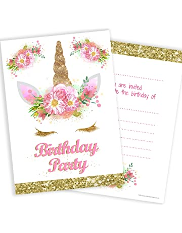 Olivia Samuel Unicorn Girls Party Invitations