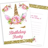 Olivia Samuel Unicorn Girls Party Invitations - Pink and Gold (Glitter effect print) with Envelopes Ready to Write (Pack 10)