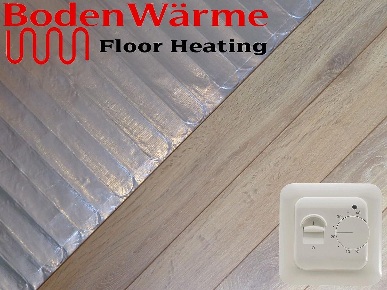 Electric Under Laminate Wood Foil Underfloor Heating Mat Kit 5m Sq Digital Thermostat Co Uk Diy Tools