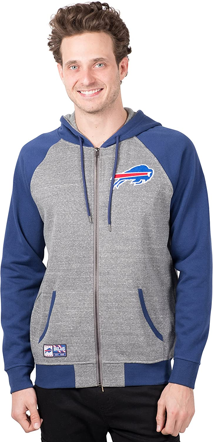 Ultra Game NFL Mens Full Zip Soft Fleece Raglan Hoodie