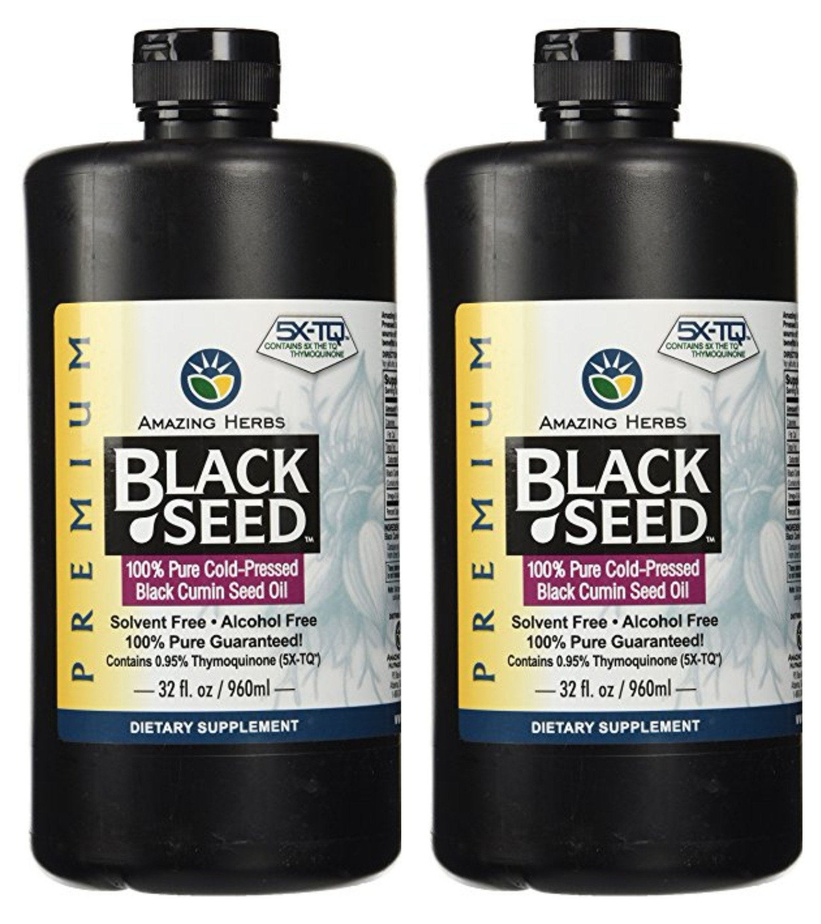 Amazing Herbs Black Seed Cold-Pressed Oil - 32oz (Pack of 2)