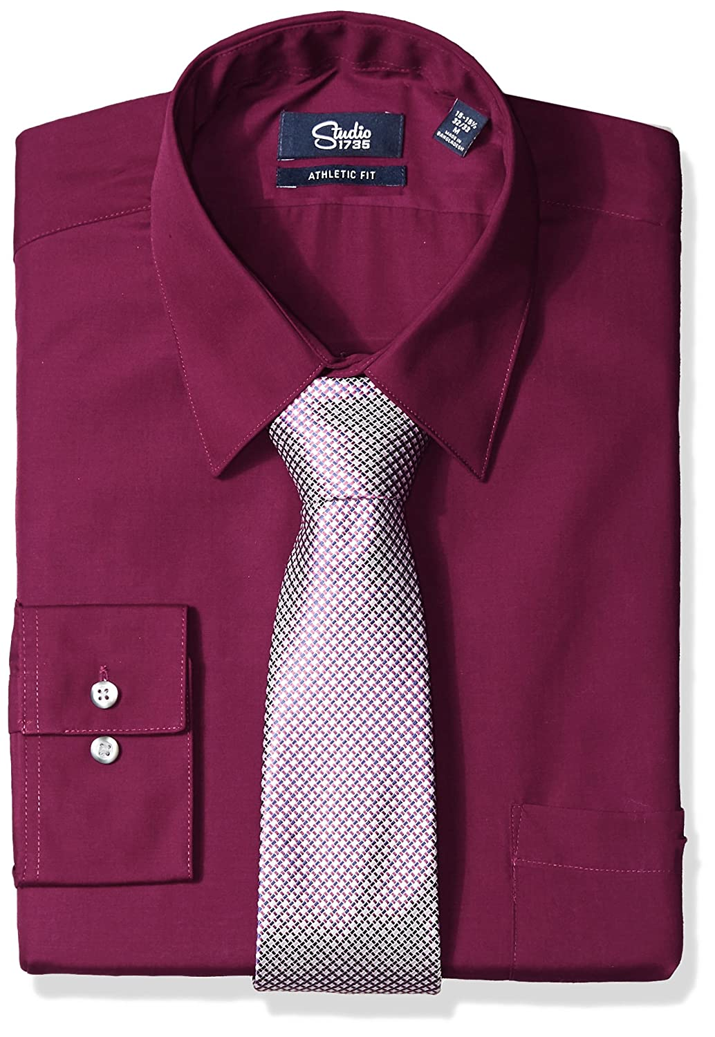 Studio 1735 Mens Dress Shirts And Tie Combo Neat Tie Athletic Fit At