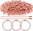 BronaGrand 100 Pieces Ball Chains, 100mm Long Bead Connector Clasp Tag Keychain Key Rings, 2.4 mm Diameter, Rose Gold