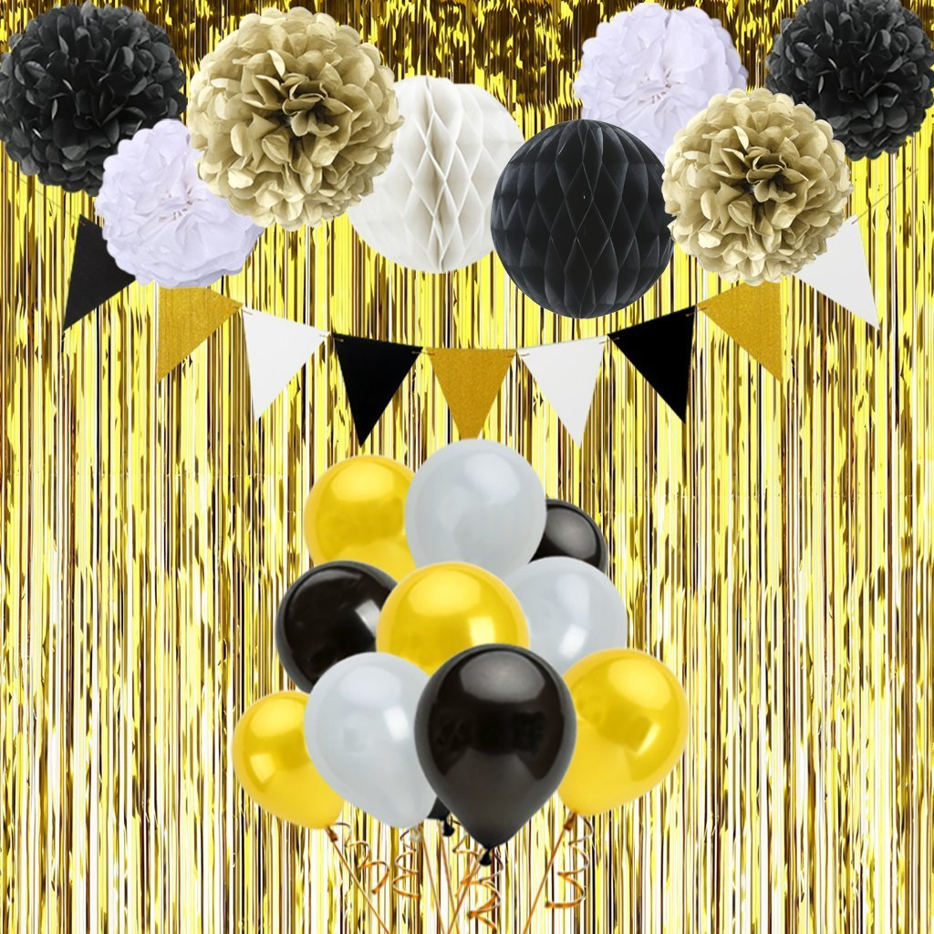 Black And Gold Birthday Decorations With Banner Tissue Paper Pom Poms Honeycomb Balls Balloons Fringe Curtain For Party Supplies 48Pcs Amazoncouk Toys