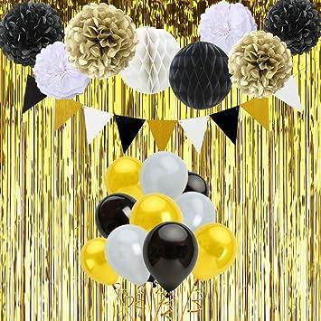 Gustawarm Decoraciones de Feliz cumpleaños 6 Pompones, 2 Bola de Panal, 30 Globos del látex, una Hila de Banderas Triangulares, Cortina de Oro para ...