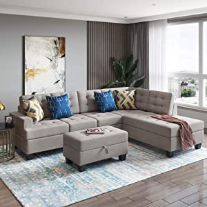GAOPAN Sectional Set with Chaise Lounge and Storage Ottoman, 3-Piece L Shape Sofa for Living Room Furniture,Gray, Light Grey