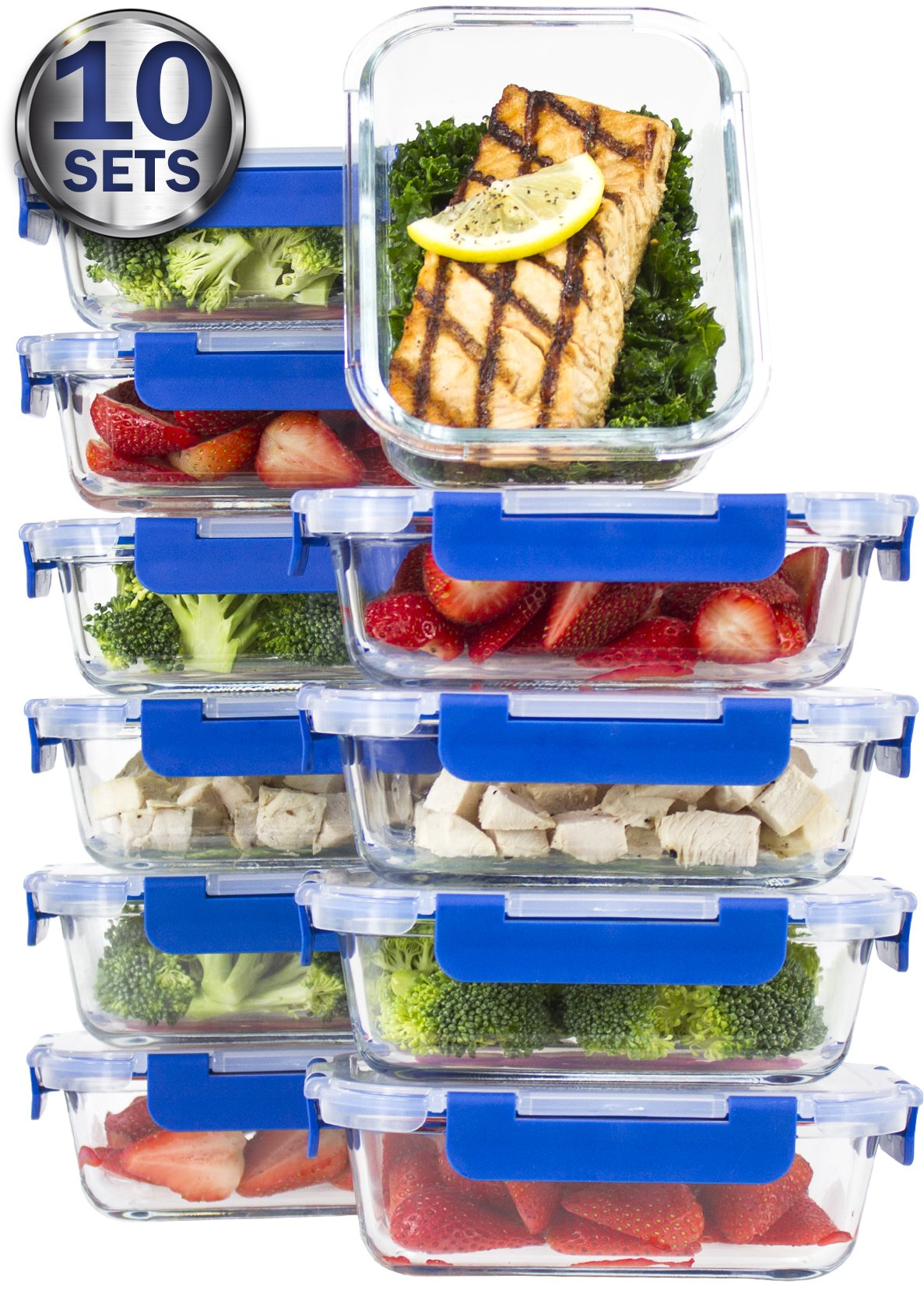[10 SETS VALUE PACK] Glass Meal Prep Containers – Glass Food Storage Containers with Lids Meal Prep – LIFETIME Lids - Lunch Containers Portion Control Containers -BPA Free Containers(24 ounce/ 3 cups) by Misc Home