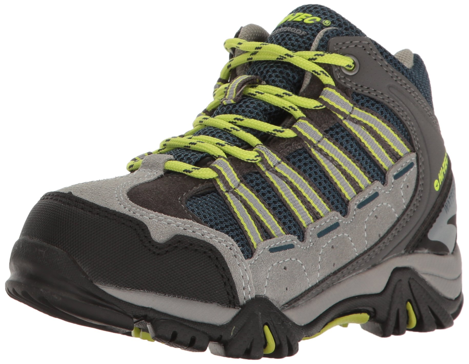 Hi-Tec Boys' Forza Mid WP Jr Hiking Boot, Cool Grey/Majolica/Limoncello, 2 M US Little Kid