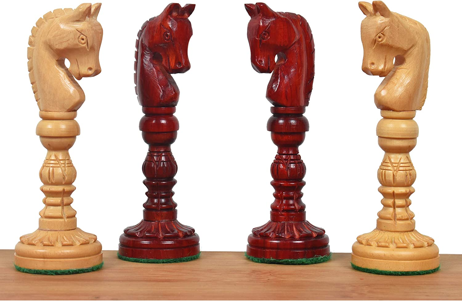 Hand Carved Lotus Series Chess Pieces set in Weighted Bud Rose Wood King Height 4.7 inches