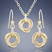 Dainty Love Knot 14K Yellow Gold-Filled Pendant Necklace and Earrings Simple Jewelry Gift Set for Women - 20 Inches