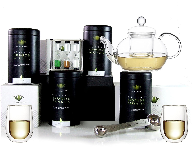The Tea Makers of London Cesta de té Verde con Tetera de Cristal ...
