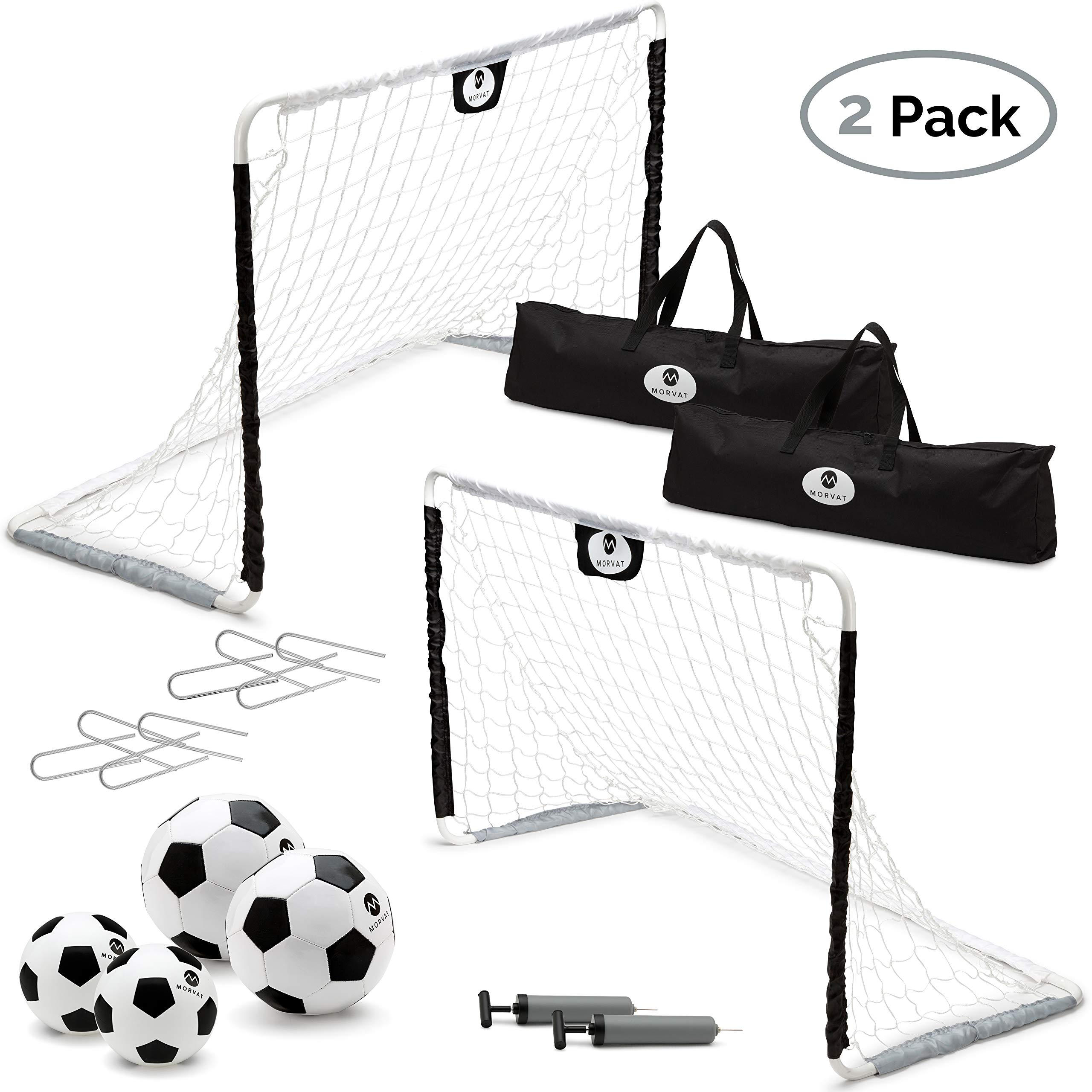 Morvat Soccer Goal Set for Backyard, Outdoor Games Soccer Net, Soccer Goals for Kids, Soccer Accessories, Pop Up Soccer Goals, Set of 2, Includes 2 Goal Nets, Ball and More, Black and White by Morvat
