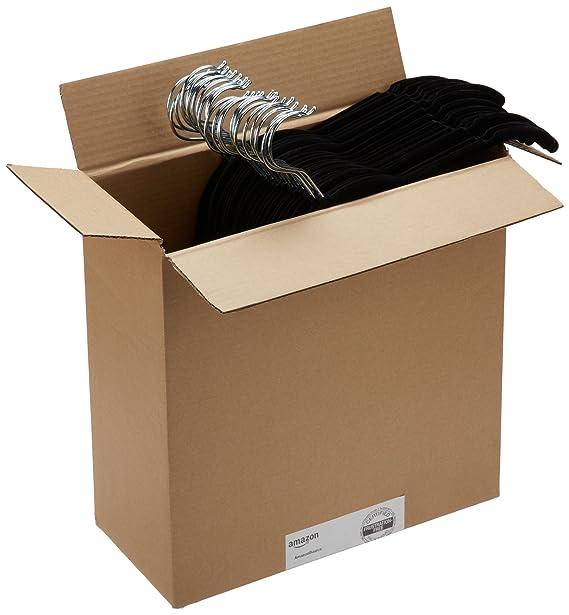 AmazonBasics - Perchas de terciopelo para camisas/vestidos - Paquete de 50, Negro