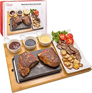 "Cooking Stone- Complete Set Lava Hot Steak Stone Plate Tabletop Grill and Cold Lava Rock Indoor BBQ Hibachi Grilling Stone (8 1/8"" x 5 3/16"") w Ceramic Side Dishes and Bamboo Platter"