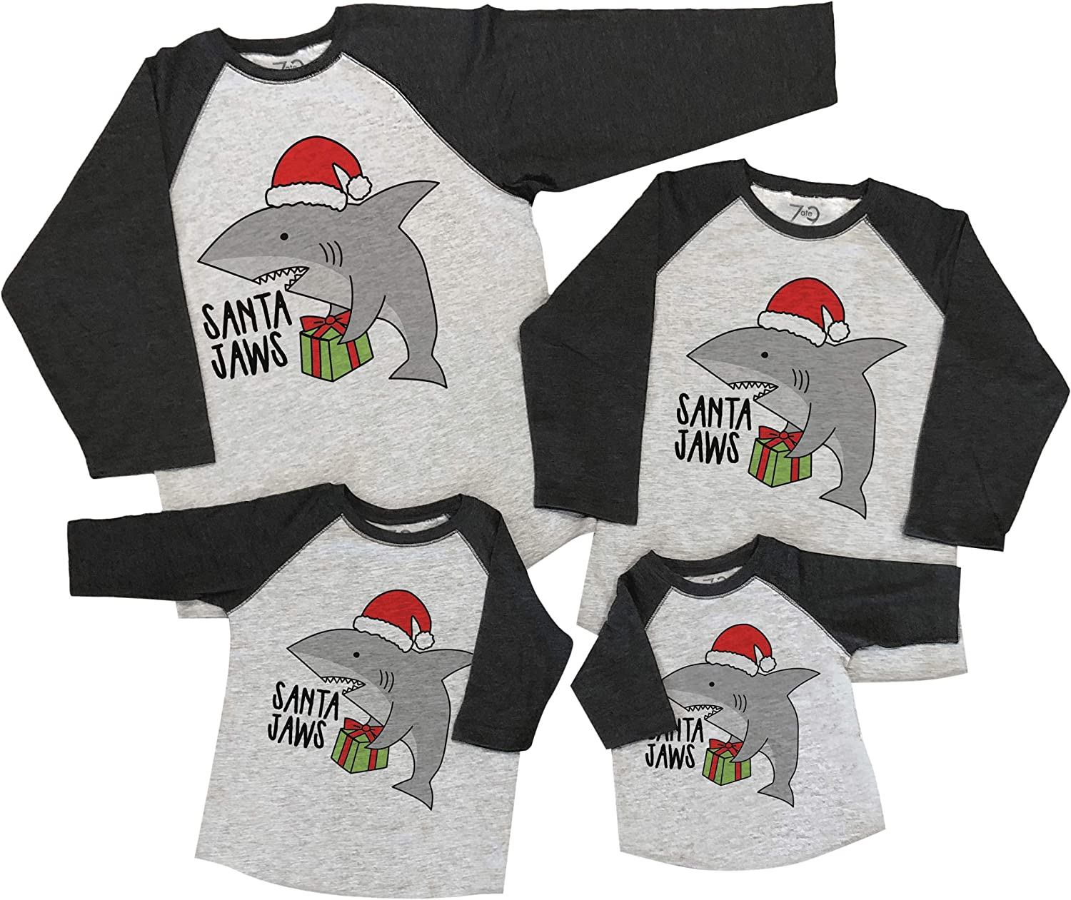 7 ate 9 Apparel Matching Family Christmas Shirts - Santa Shark Grey Shirt
