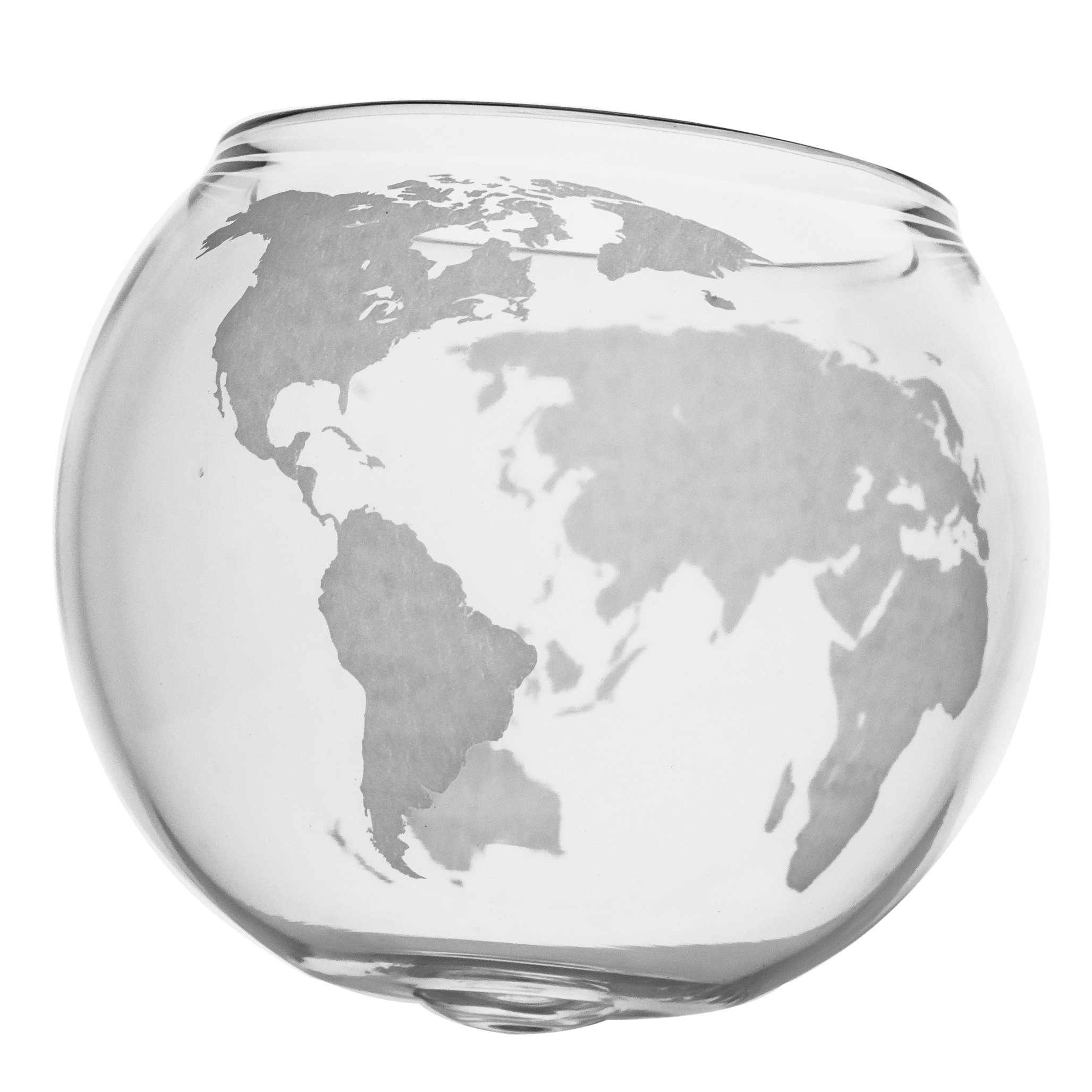 Etched Spinning/Rocking Globe Whiskey Glass - 10oz Glass for Scotch, Rum, Tequila or Bourbon – Old Fashioned/Rocks Glasses from Prestige Decanters (Set of Two)