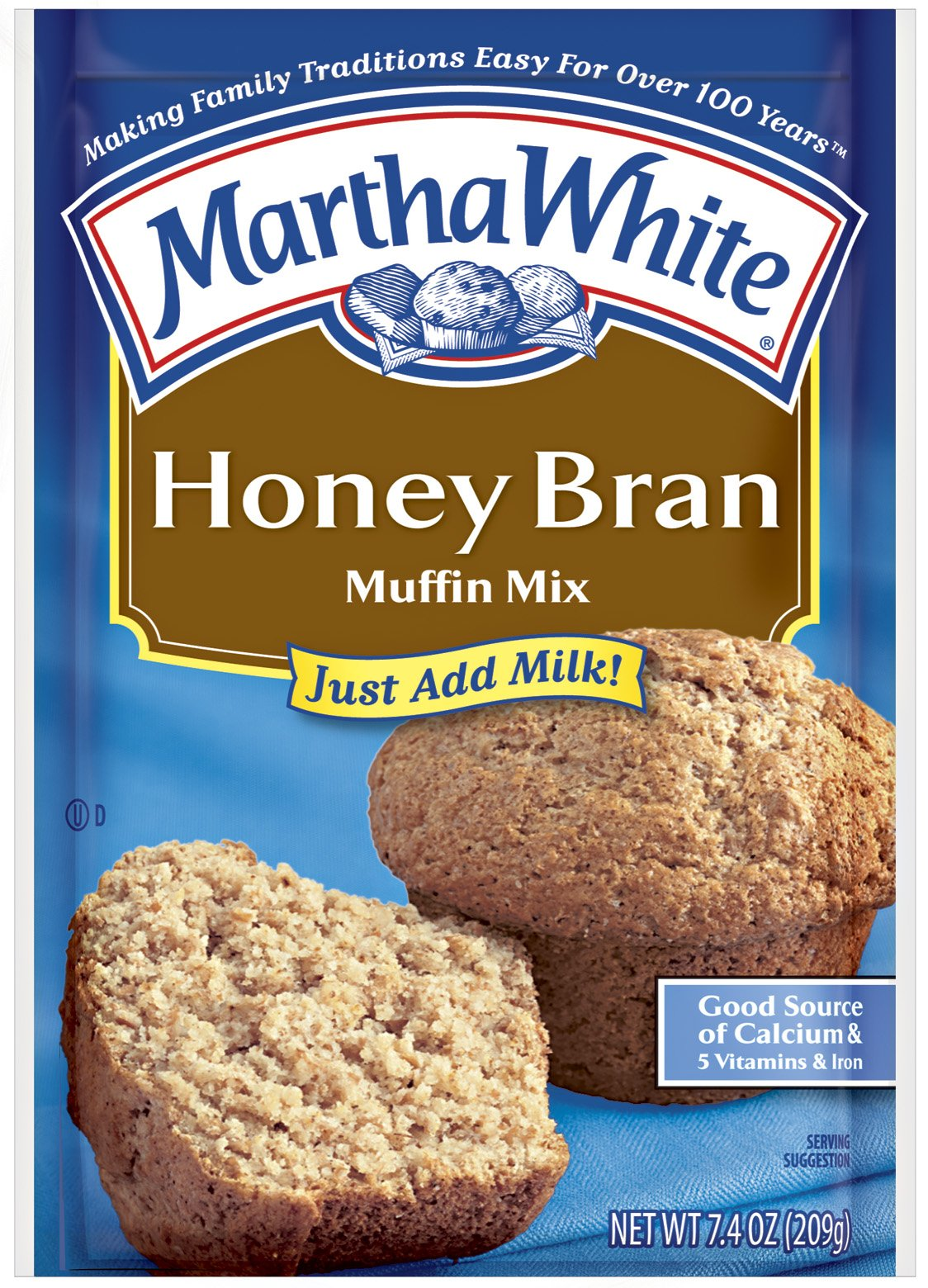 Martha White Muffin Mix, Honey Bran, 7.4-Ounce Packages (Pack of 12)