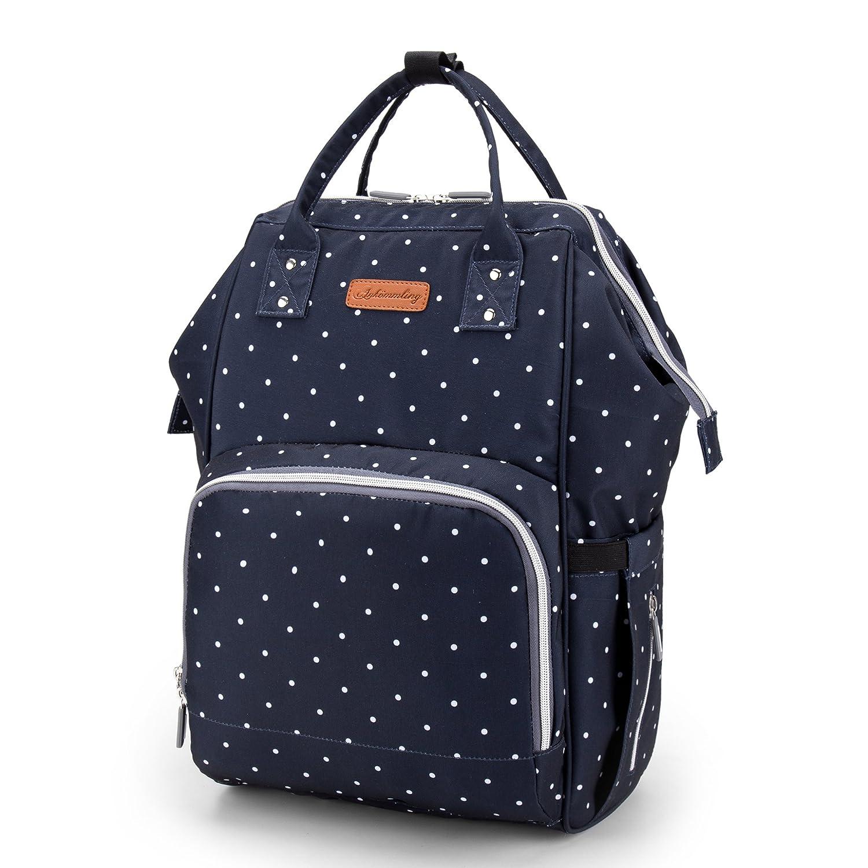 BISON DENIM Verbesserte Version Wickeltasche Gro/ße F/ähigkeit Wasserdicht Wickeltaschen Diaper Bag Mode Rucks/äcke Baby Backpack Grau