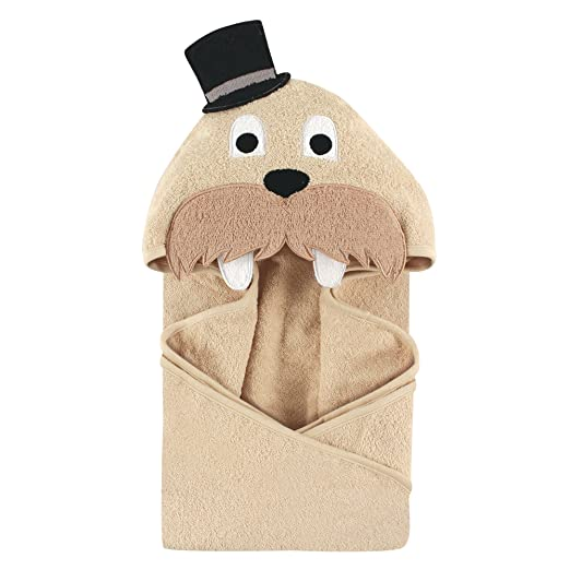 Hudson Baby Animal Face Hooded Towel, Classy Walrus