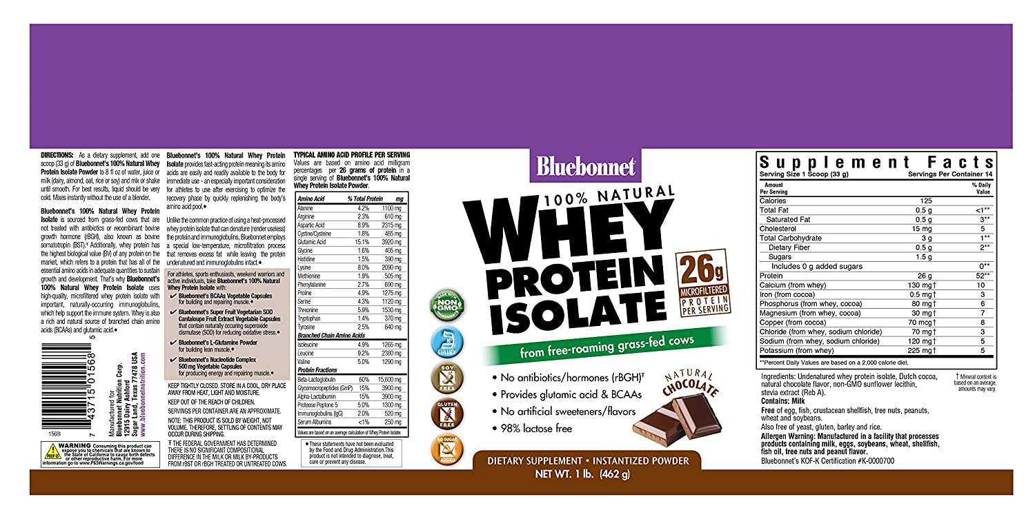 Bluebonnet Nutrition 100 Natural Whey Protein Isolate Powder, Chocolate Flavor, 1 Pound