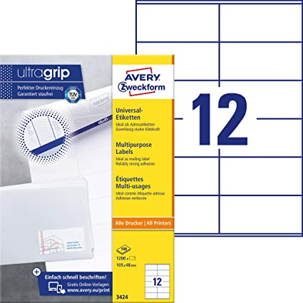 Avery Zweckform 3424 Adressaufkleber A4 Mit Ultragrip 105x48 Mm 100 Blatt Papier Matt Bedruckbar Selbstklebende Adressetiketten 1200