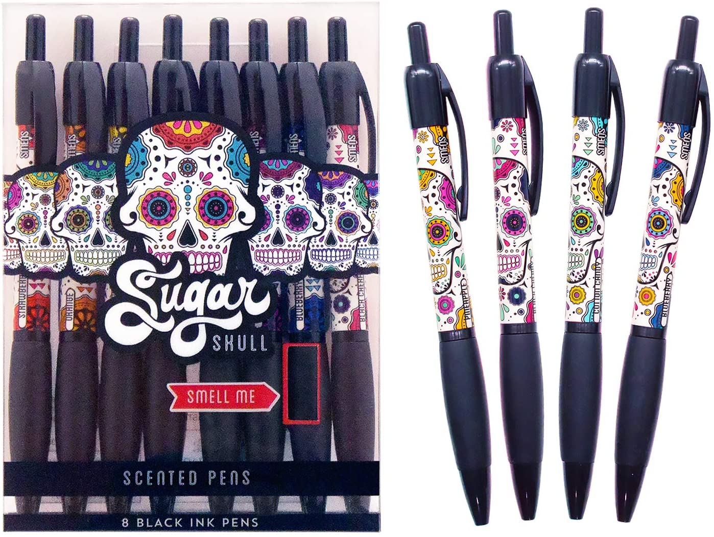 Scentco Sugar Skull Smens - Scented Pens, Black Gel Ink, Medium Point, Black Cherry & Strawberry - 8 Count